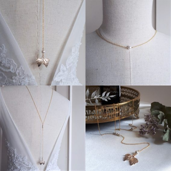 Lena – Collier de dos mariage pendante feuille avec perles swarovski