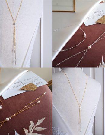Tina - Collier de dos mariage avec perles rondes swarovski