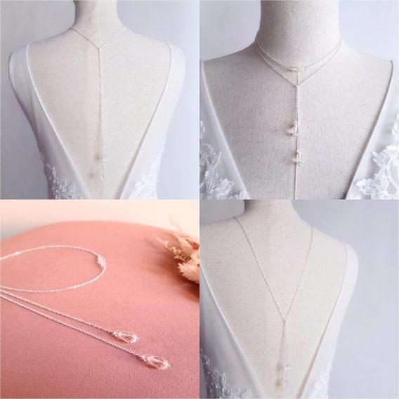 Ysé - Collier de dos mariage, collier Y lariat avec cristal swarovski