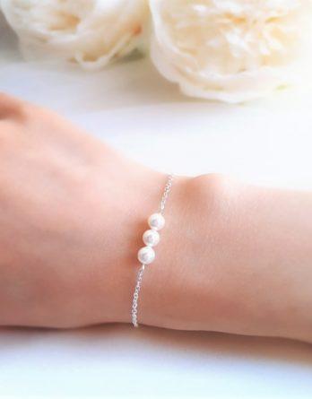 Zoé no.5 - Bracelet mariage trio de perles pour mariée et demoiselle d'honneur