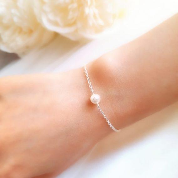 Zoé no.1 - Bracelet mariage avec perle Swarovski pour mariée et demoiselle d'honneur
