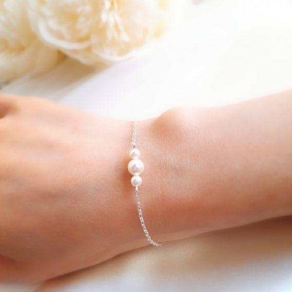 Zoé no.1 – Bracelet mariage trio de perles pour mariée et demoiselle d'honneur