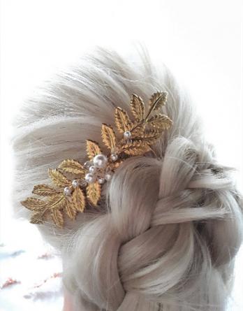 Leonie – Peigne de mariée feuilles bohème et retro chic avec perles swarovski