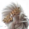 "Peigne de mariée ""Louise"" feuilles avec perles swarovski"