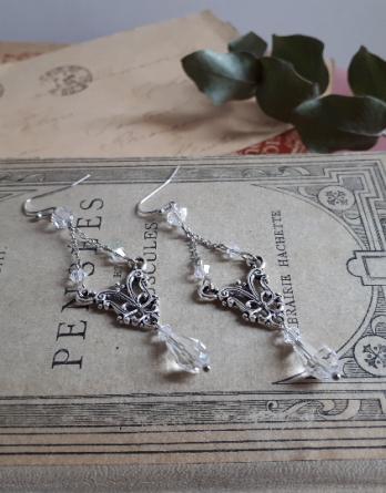 Lilas – Boucles d'oreilles mariage avec perles en cristal swarovski