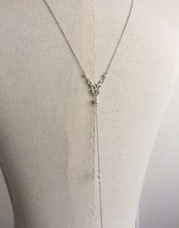 "Bijoux mariage - Collier bijou de dos mariage ""Lilas"" avec perles swarovski"