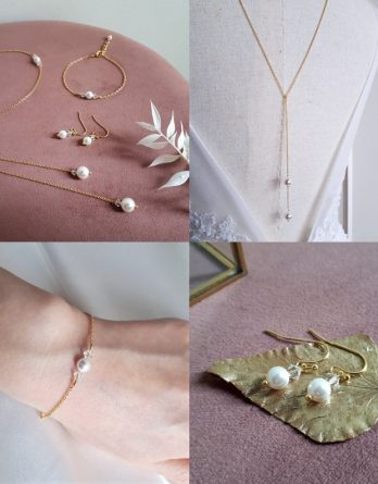 Inès - Parure de mariage simple et élégant chic avec perles swarovski